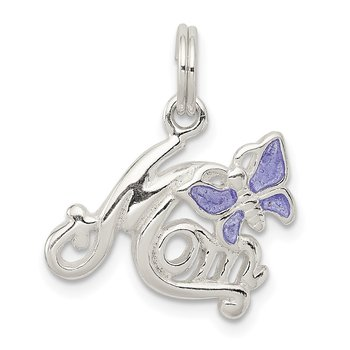 Sterling Silver Polished Mom Butterfly Enameled Charm