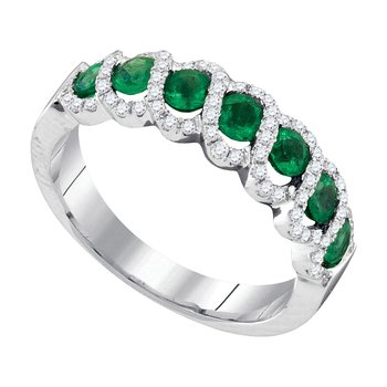 14kt White Gold Womens Round Emerald Diamond Outline Band 1.00 Cttw