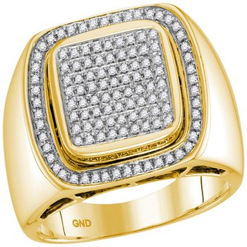 10kt Yellow Gold Mens Round Diamond Square Frame Cluster Ring 1/2 Cttw