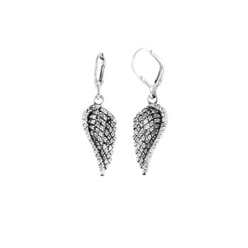 Small Cz Pave Wing Leverback Earrings