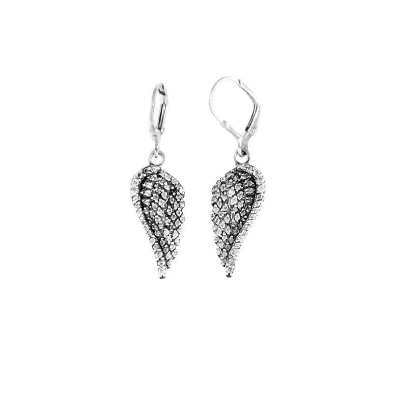 King Baby Small Cz Pave Wing Leverback Earrings