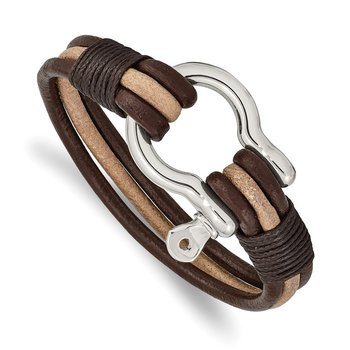 Stainless Steel Polished D.Brown/Tan Leather MultiStrand Shackle Bracelet