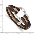 Chisel Stainless Steel Polished D.Brown/Tan Leather MultiStrand Shackle Bracelet