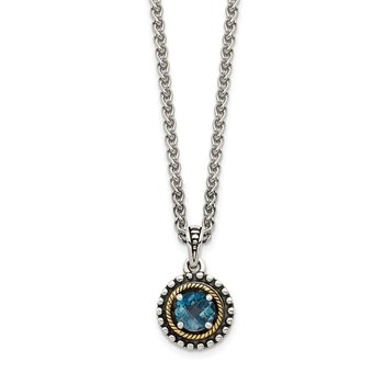 Sterling Silver w/ 14K Accent London Blue Topaz Necklace