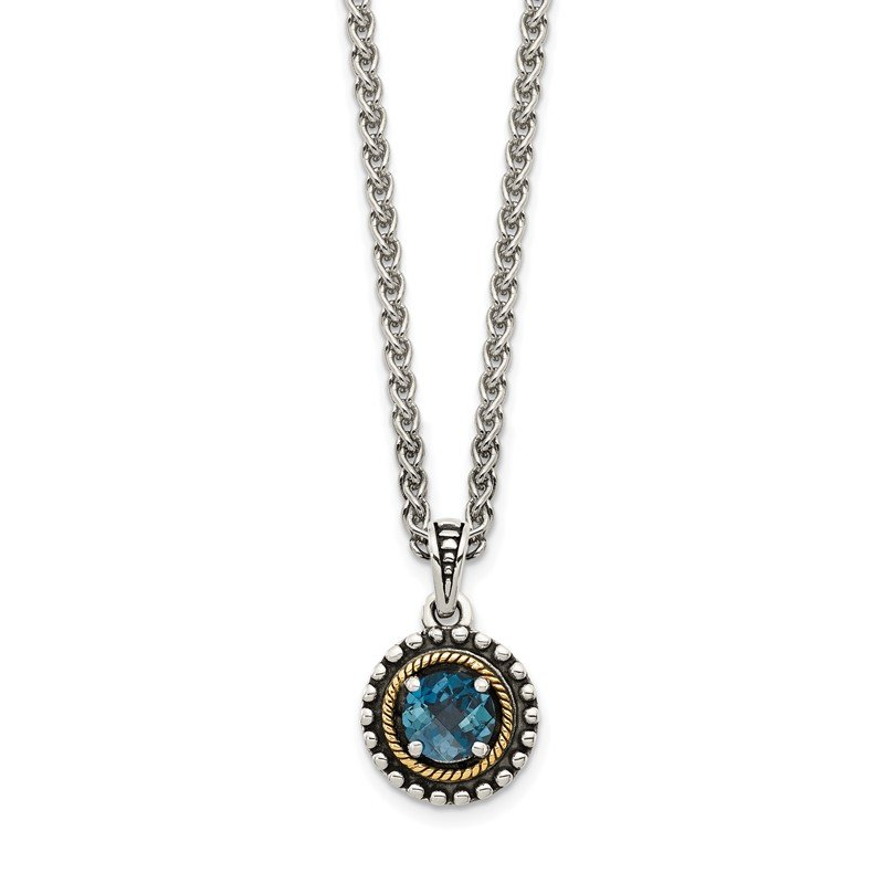 Quality Gold Sterling Silver w/ 14K Accent London Blue Topaz Necklace