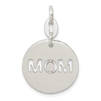 Sterling Silver Polished Circle Mom Charm