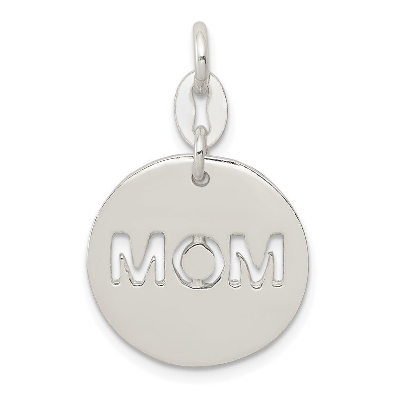 Quality Gold Sterling Silver Polished Circle Mom Charm