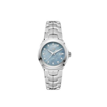 'Lady Link' 32 mm Quartz Watch In Stainless Steel. The Watch Has A Blue/Grey  Mother Of Pearl Dial With Diamond Hour Markers And A Tapered Steel Bracelet With  A Butterfly Folding Clasp. Watch Is Model WBC1313.