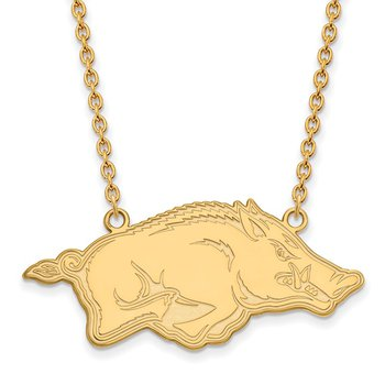Gold-Plated Sterling Silver University of Arkansas NCAA Necklace