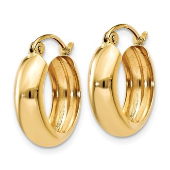 14k Polished 4.75mm Round Hoop Earrings