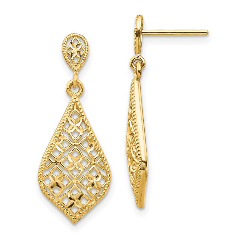 Quality Gold 14K Fancy Dangle Post Earrings
