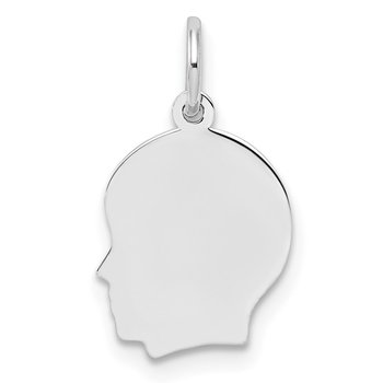 Sterl Silver Rh-plt Engraveable Boy Polished Front/Satin Back Disc Charm