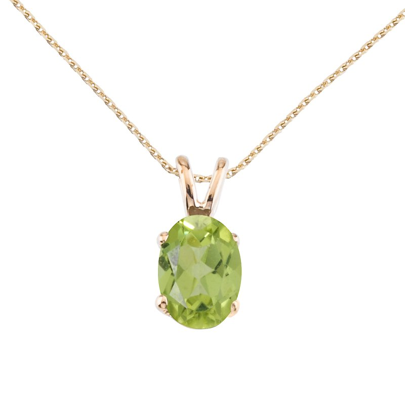 Color Merchants 14k Yellow Gold Oval Large 6x8 mm Peridot Pendant