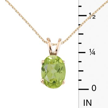 14k Yellow Gold Oval Large 6x8 mm Peridot Pendant
