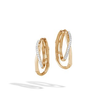 Bamboo Hoop Earring in 18K Gold with Diamonds