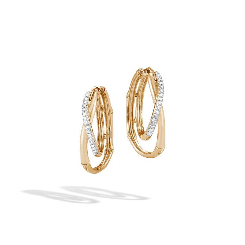 a5f8b959b John Hardy Bamboo Hoop Earring in 18K Gold with Diamonds. Stock #  EGX570152DI