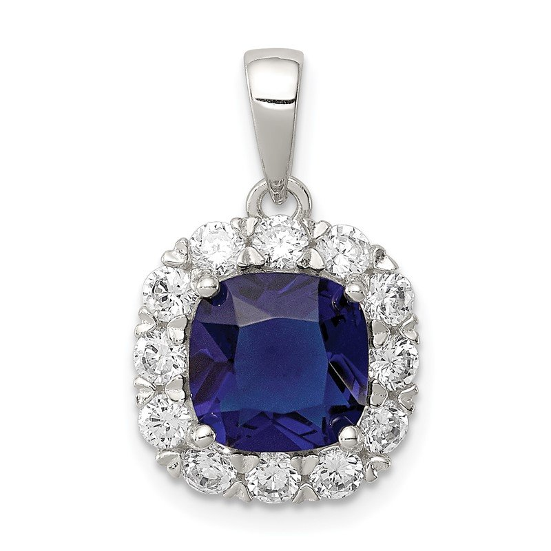 Quality Gold Sterling Silver CZ and Blue Glass Pendant