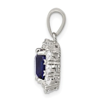 Sterling Silver CZ and Blue Glass Pendant