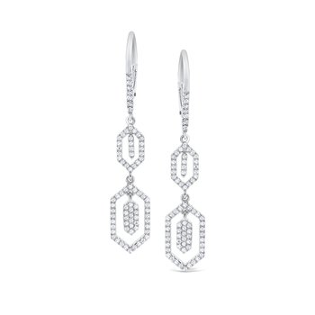 Diamond Hexagonal Dangle Earrings Set in 14 Kt. Gold