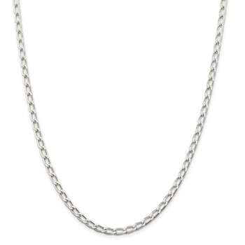 Sterling Silver Rhodium Plated 4.3mm Open Link Chain