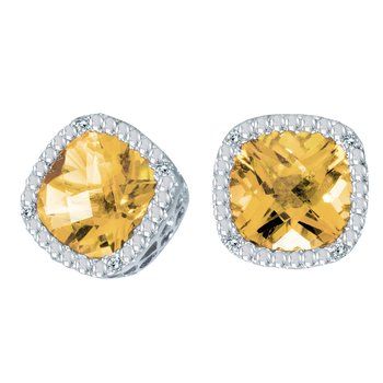 14k White Gold Cushion Cut Citrine And Diamond Earrings