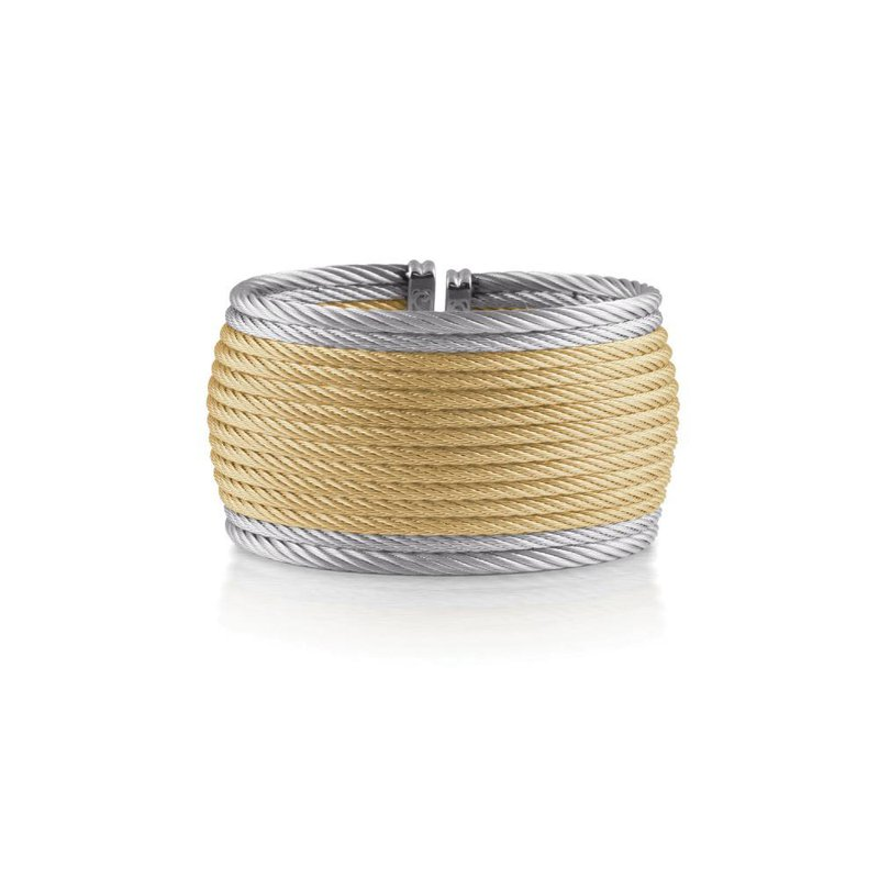 ALOR Yellow & Grey Cable Oversized Cuff with 18kt White Gold