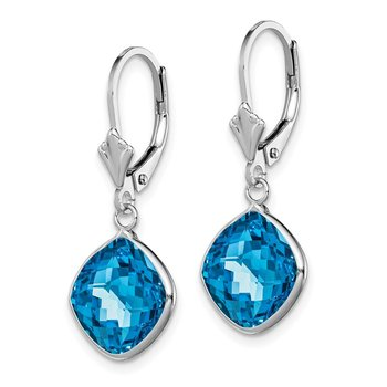 Sterling Silver Rhodium-plated Blue Topaz Dangle Lever Back Earrings