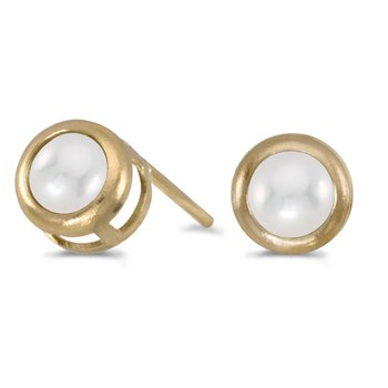 14k Yellow Gold Pearl Bezel Stud Earrings