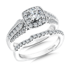Valina Bridals Cushion shape halo mounting .59 ct. tw., 1/2 ct. round center.