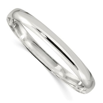 Sterling Silver 7mm Solid Polished Plain Slip-On Bangle Bracelet