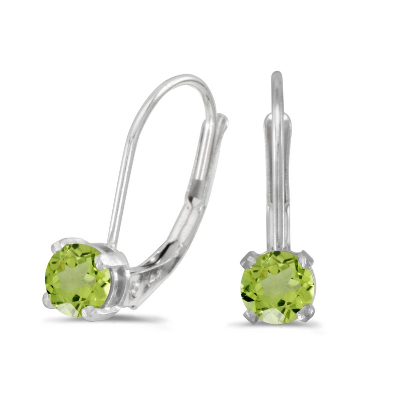 Color Merchants 14k White Gold Round Peridot Lever-back Earrings