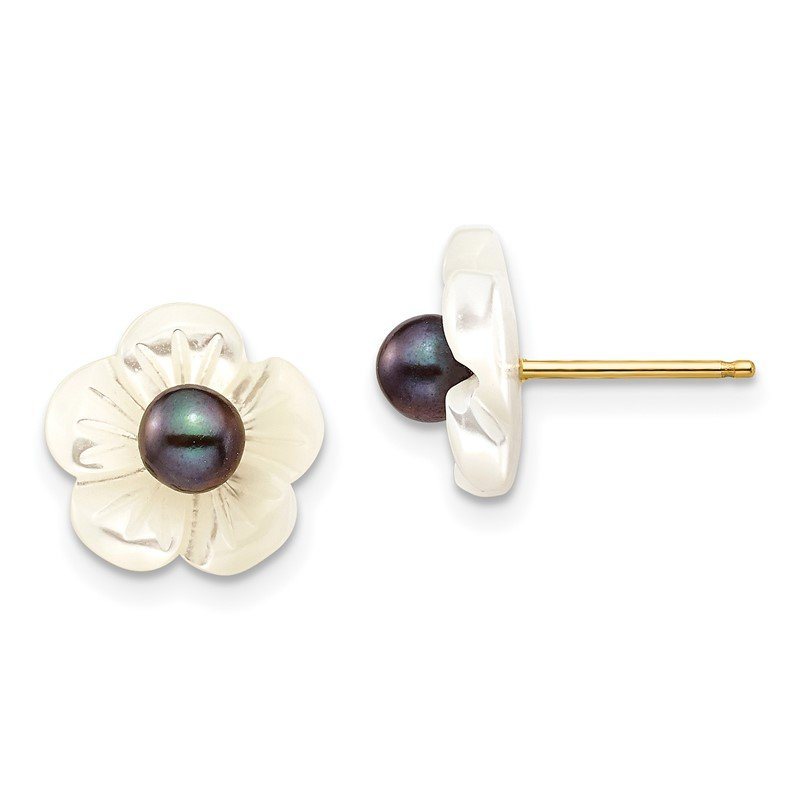 Quality Gold 14k 3-4mm Black FW Cultured Pearl w/10 mm MOP Flower Post Earrings