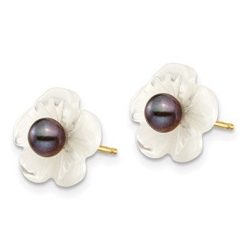 14k 3-4mm Black FW Cultured Pearl w/10 mm MOP Flower Post Earrings