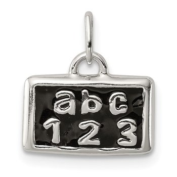 Sterling Silver Polished Enamel ABC 123 Pendant