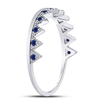 10kt White Gold Womens Round Blue Sapphire Chevron Stackable Band Ring 1/10 Cttw