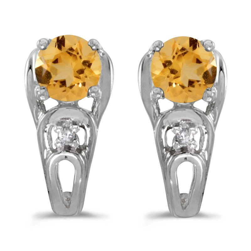 Color Merchants 10k White Gold Round Citrine And Diamond Earrings