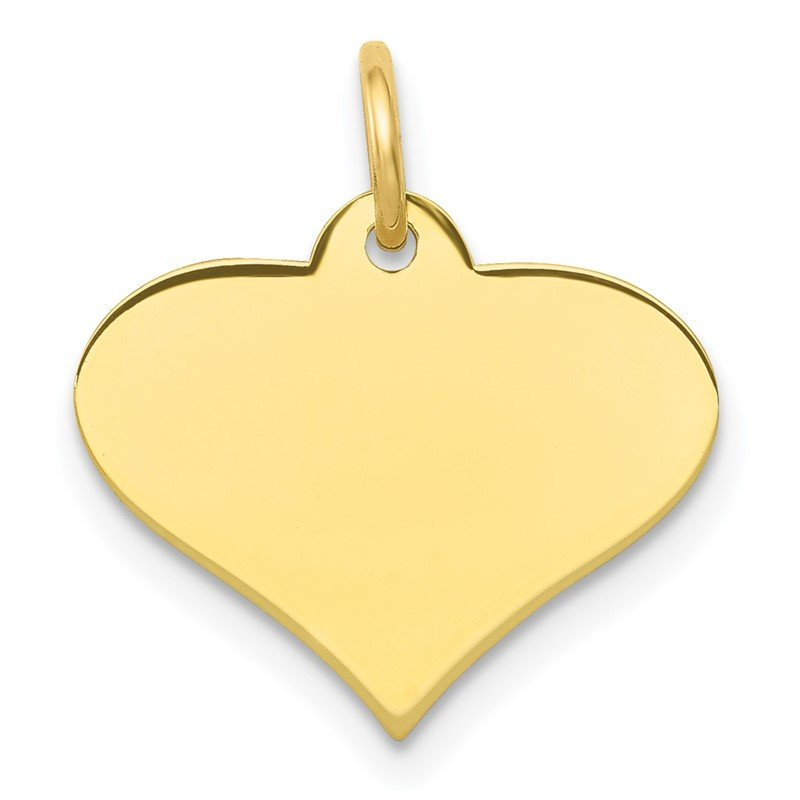 Quality Gold 10k Plain .018 Gauge Engraveable Heart Disc Charm