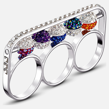 Spectacular Ring, Dark multi-colored, Rhodium plated
