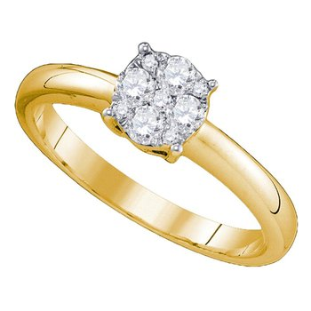 18kt Yellow Gold Womens Round Diamond Cluster Bridal Wedding Engagement Ring 7/8 Cttw