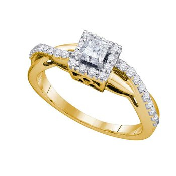 14kt Yellow Gold Womens Princess Diamond Solitaire Halo Bridal Wedding Engagement Ring 1/2 Cttw