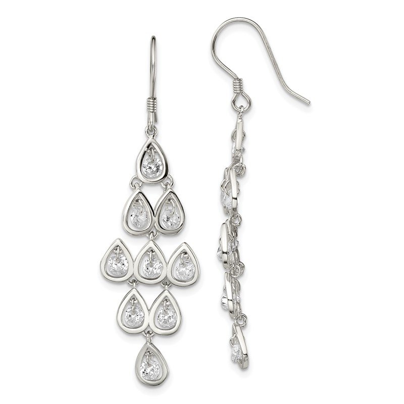 Quality Gold Sterling Silver Fancy Clear CZ Pear Shaped Stone Chandelier Dangle Earrings
