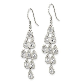 Sterling Silver Fancy Clear CZ Pear Shaped Stone Chandelier Dangle Earrings