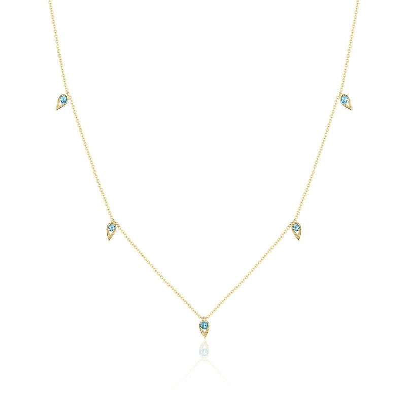 Tacori Fashion 5-Station Open Crescent Necklace with London Blue Topaz