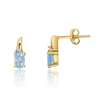 14k Yellow Gold Aquamarine and Diamond Earrings