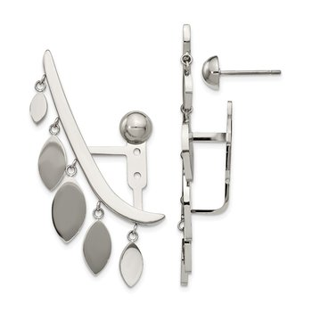 Stainless Steel Polished Front and Back Bar with Dangles Post Earrings