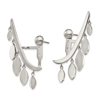Stainless Steel Polished Front and Back Bar w/Dangles Post Ear Climbers