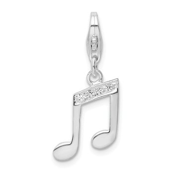 Sterling Silver with CZ Music Note Lobster Clasp Charm