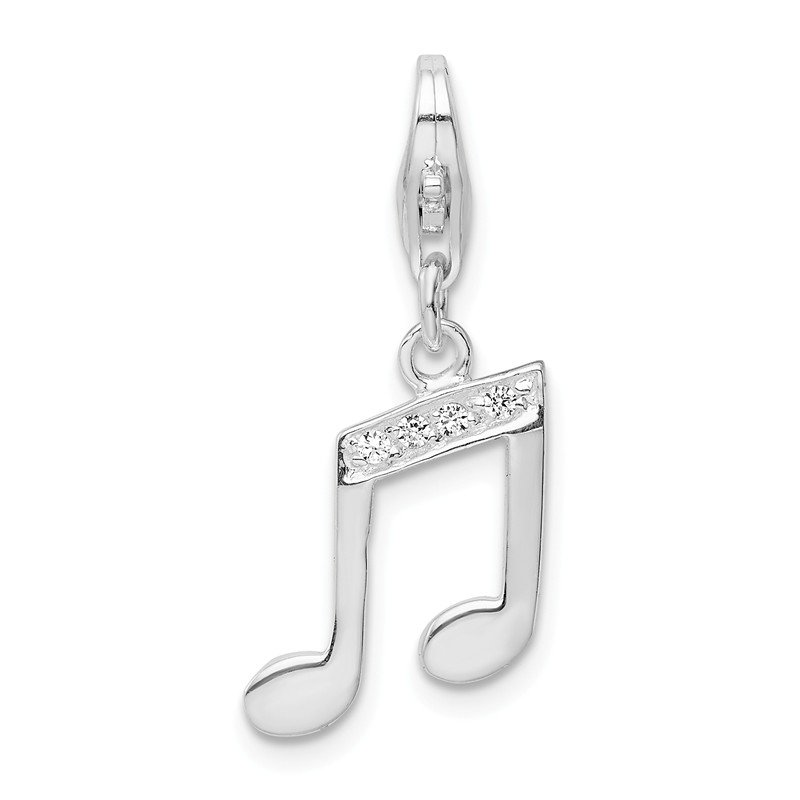Quality Gold Sterling Silver Amore La Vita Rhodium-plated CZ Music Note Charm