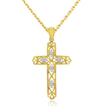 14K Yellow Gold .25 Ct Diamond Filigree Cross Pendant
