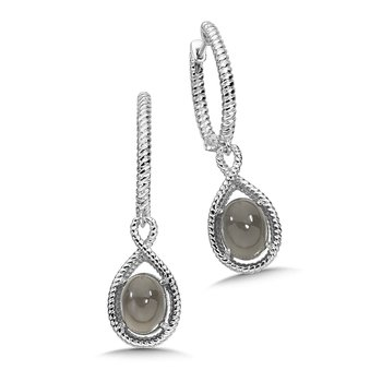 Sterling Silver Grey Moonstone Essentials Dangle Hoop Earrings